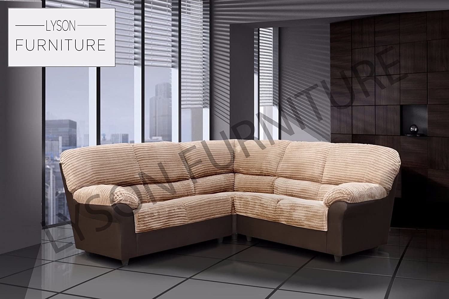 Awesome Lyson Furniture New Large Candy Corner Sofa Fabric With Faux Leather 2Cr2 225Cm X 225Cm Brown Home Interior And Landscaping Mentranervesignezvosmurscom