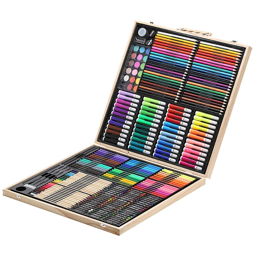 DERTHWER Children's Watercolor Pen Set Colouring Pencils Children's Painting Stationery 258 Pieces Wooden Box Painting Tools Set Watercolor Pen Colored Pencil Set DIY Painting Tools