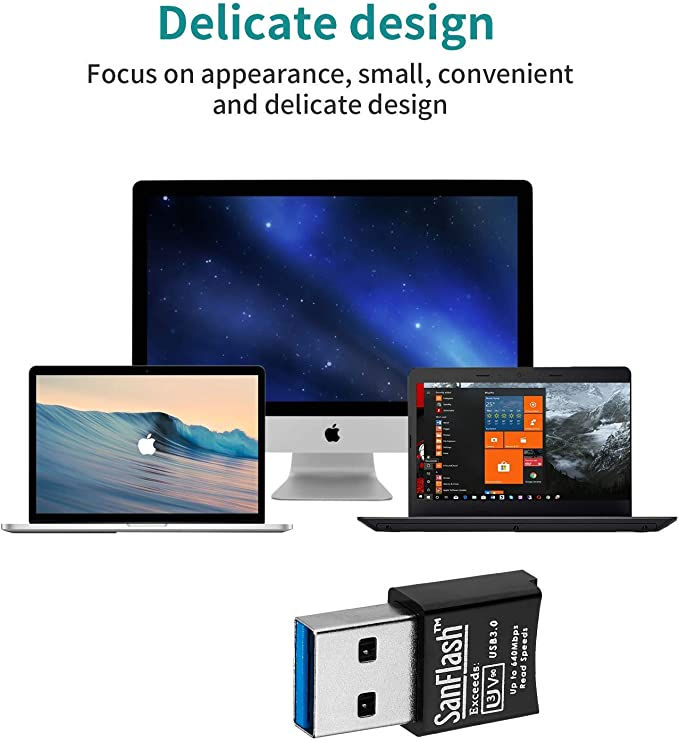 SanFlash PRO USB 3.0 Card Reader Works for Micromax Canvas Knight Cameo Adapter to Directly Read at 5Gbps Your MicroSDHC MicroSDXC Cards