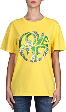 Alberta Ferretti - Camiseta Amarilla, Modelo Love Me, Manga Corta, de algodón Amarillo S: Amazon.es: Ropa y accesorios