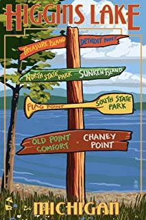 product image for Higgins Lake, Michigan - Destinations Sign (36x54 Giclee Gallery Print, Wall Decor Travel Poster)