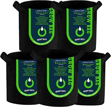 Amazon Com Opulent Systems 5 Pack 5 Gallon Grow Bags Heavy Duty Aeration Fabric Growing Bag Thickened Nonwoven Fabric Containers For Potato Plant Pots With Handles Black Garden Outdoor