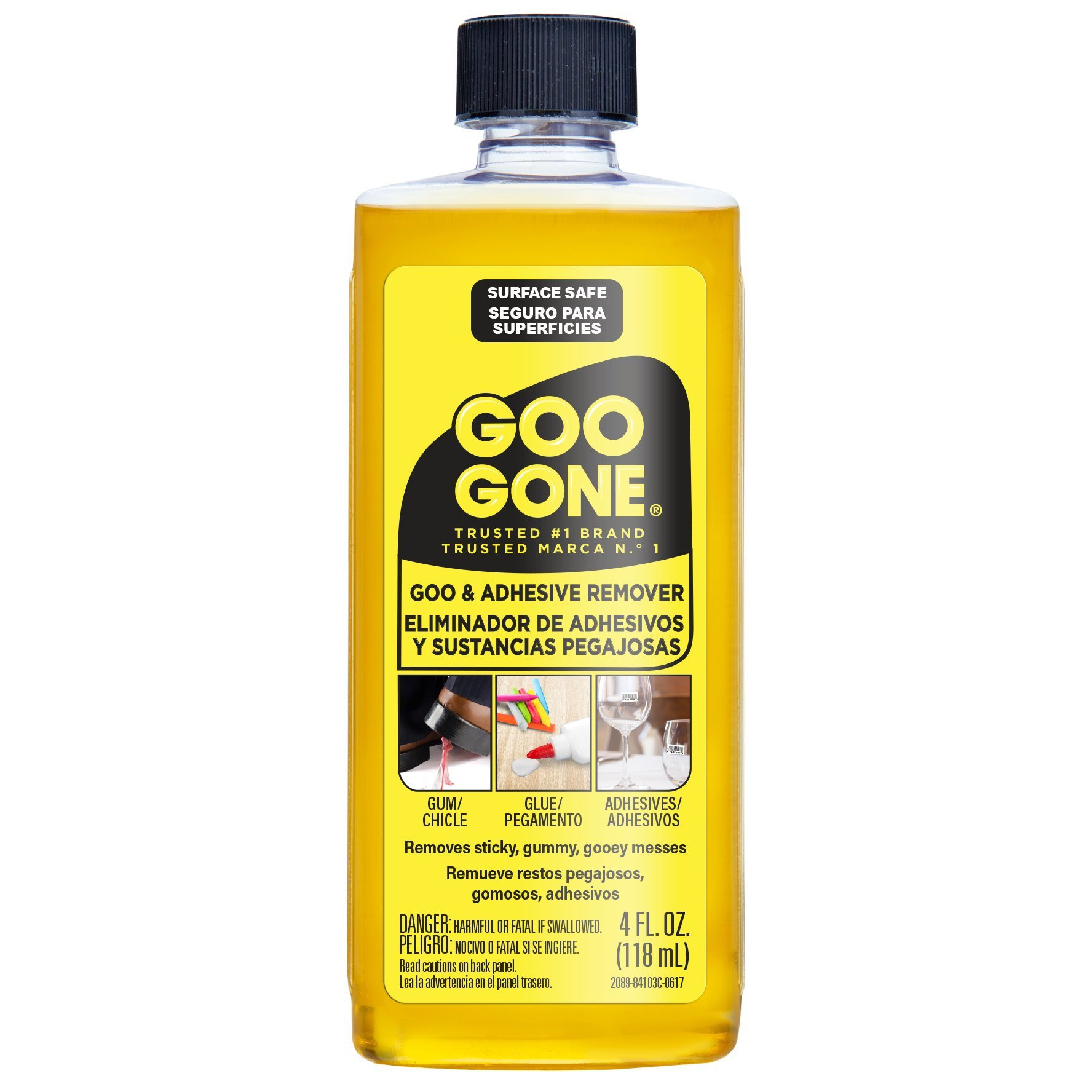 Goo Gone Original - 4 Ounce - Goo and Adhesive Remover for Stickers, Tape, and Sticky Messes