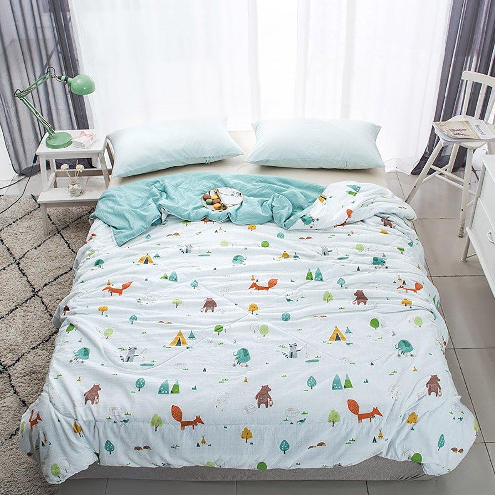 Enjoylife Fresh Style Animal Printed Thin Quilt Cotton Soft Cartoon Comforter Animal World Bedspread Full/Queen(79''x90'') for Girls Boys