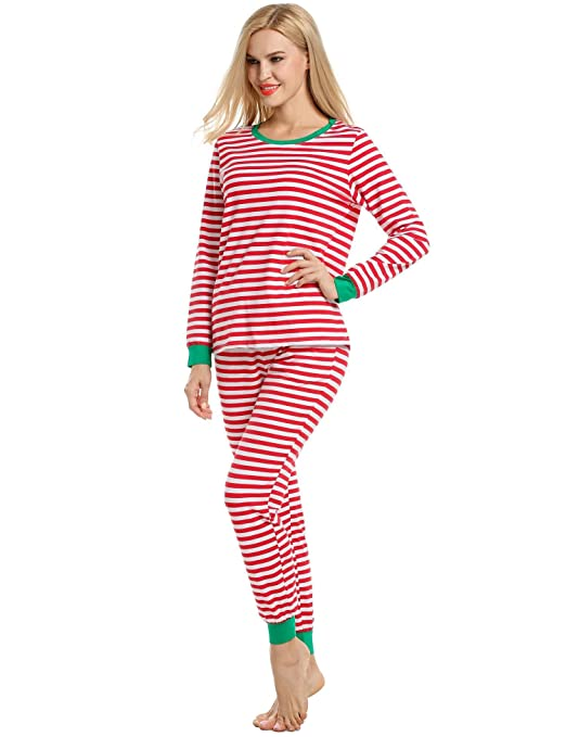 Langle Womens Christmas Fitted Sleepwear O-Neck Long Sleeve Striped Cotton Thermal Underwear Set S-XXL at Amazon Womens Clothing store: