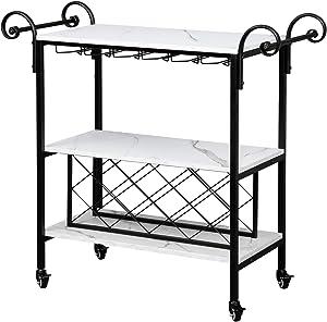 VINGLI Bar Serving Cart w/ 4 Locking Caster Wheels, Kitchen Carts with Wine Rack, Adjustable Handle Holder (White)