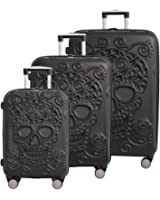 IT Luggage Skulls 3 Piece Spinner Set - Black