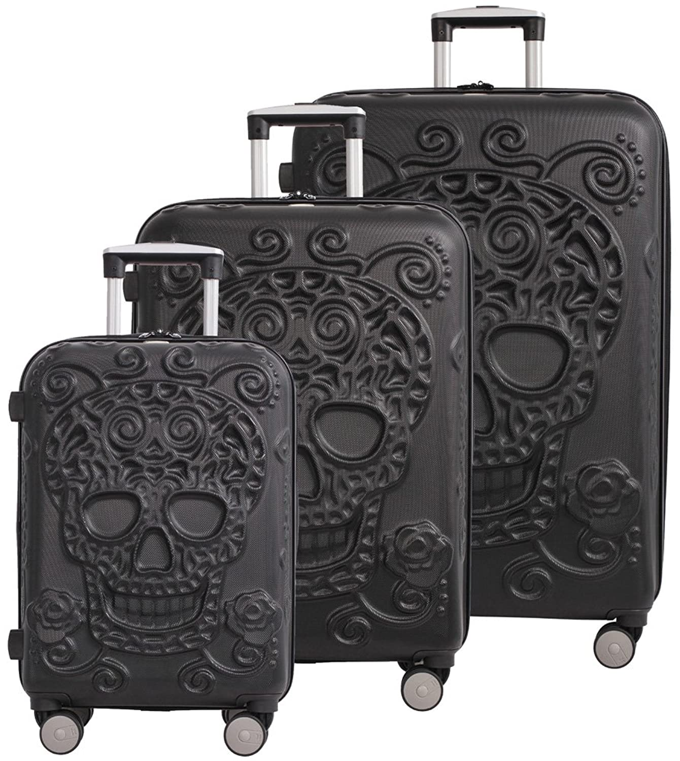 It Luggage Skulls 3 Piece Spinner Set Black My Sugar