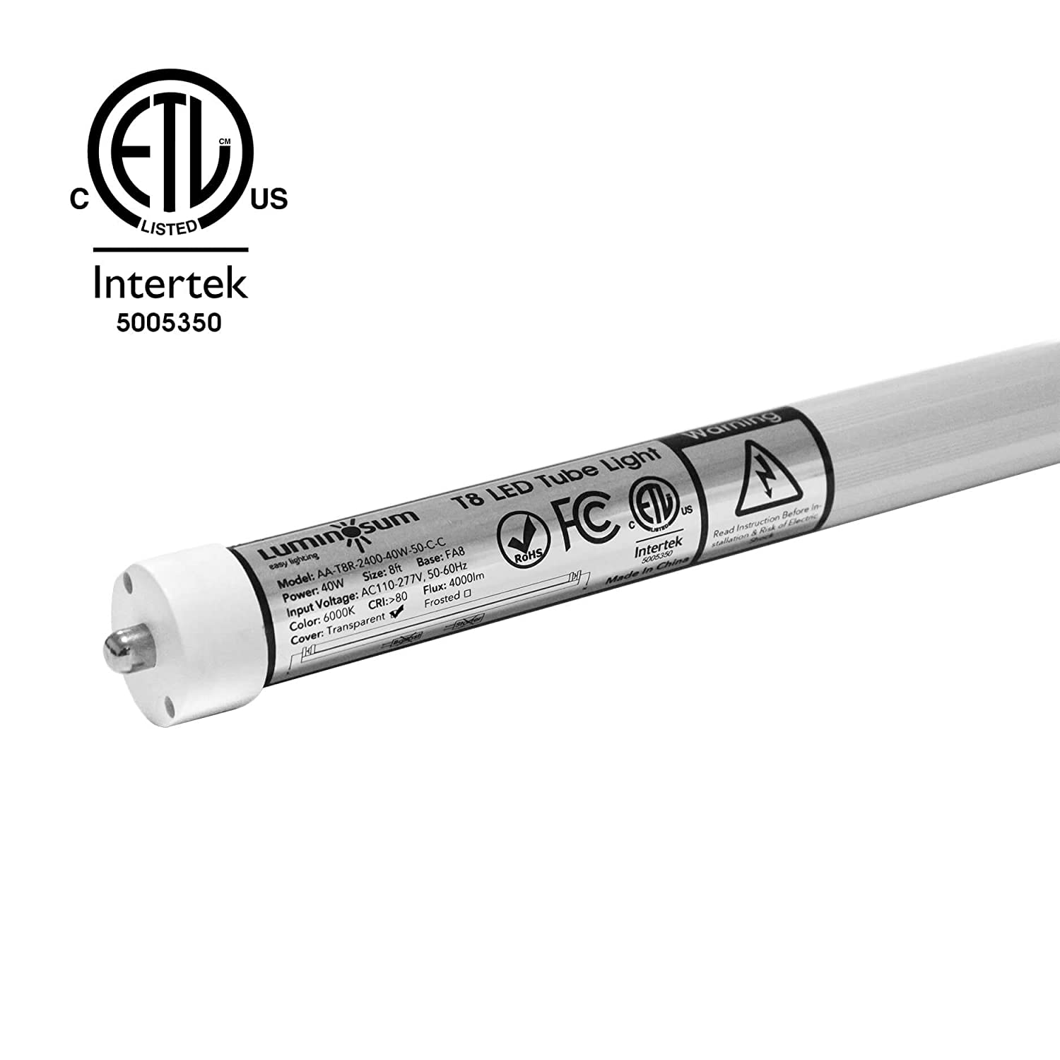 Luminosum T8 Led Tube Light 8ft 40w Single Pin Fa8 Base Clear How To Install A Fluorescent Bypassing Ballast Leds Cover Cool White 6000k Replacement Etl Certified 20 Pack Amazon