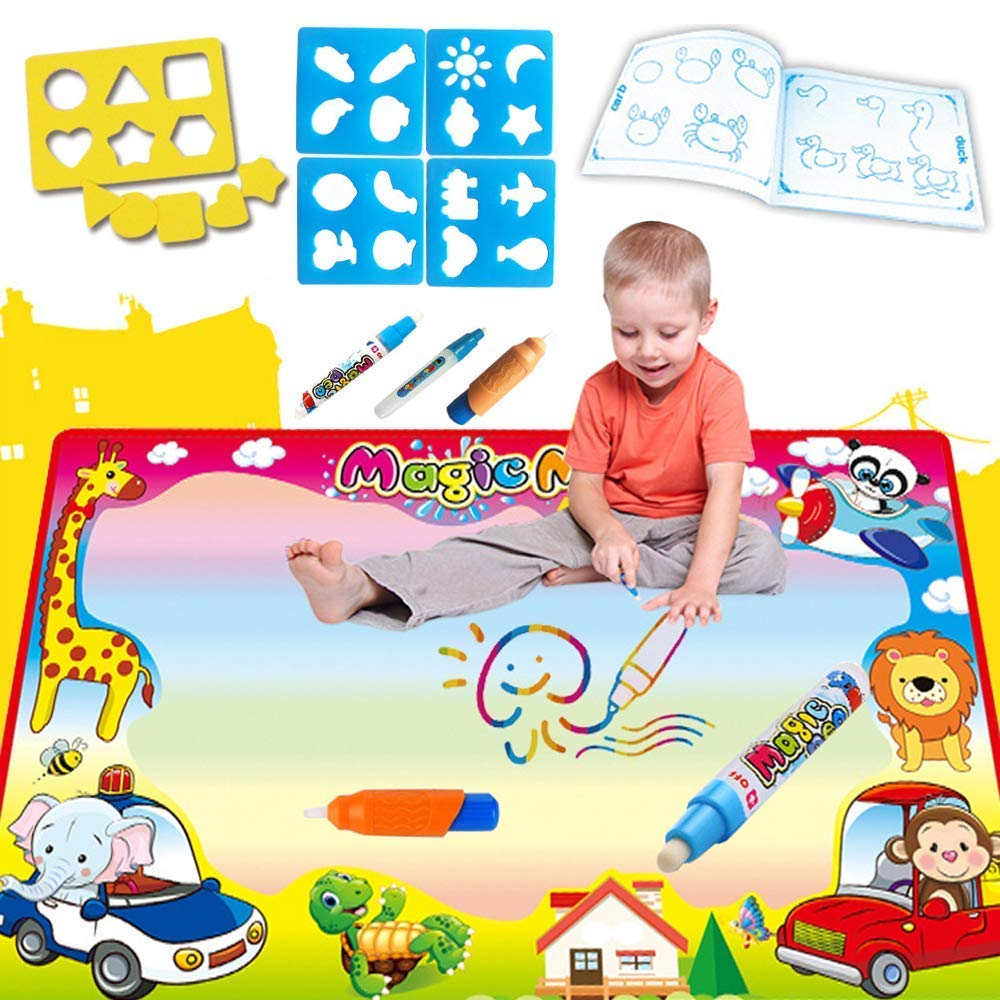 Aqua Doodle Mat Large Water Drawing Mat Toddlers Painting Board Writing Mats in 7 Colors with 2 Magic Pens and 1 Brush Educational Toy Best Gift for Kids Boys and Girls