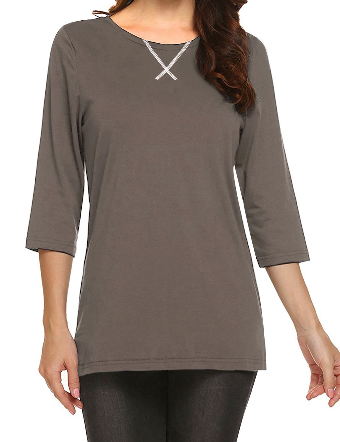 Regna X Women's Basic Loose fit Maternity Short Sleeve Top Tee Taupe 3XL