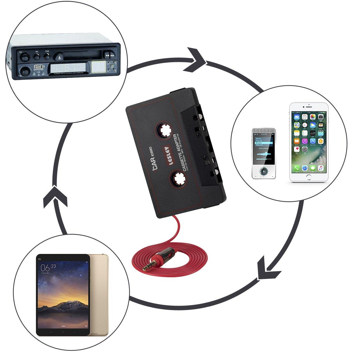 iPod et Lecteurs MPV ou dautres Appareils Mobiles via un Lecteur Cassettes de Voiture EFANTUR Adaptateur Cassette pour Voitures avec Fiche Jack 3.5mm pour /Écouter des Smartphones