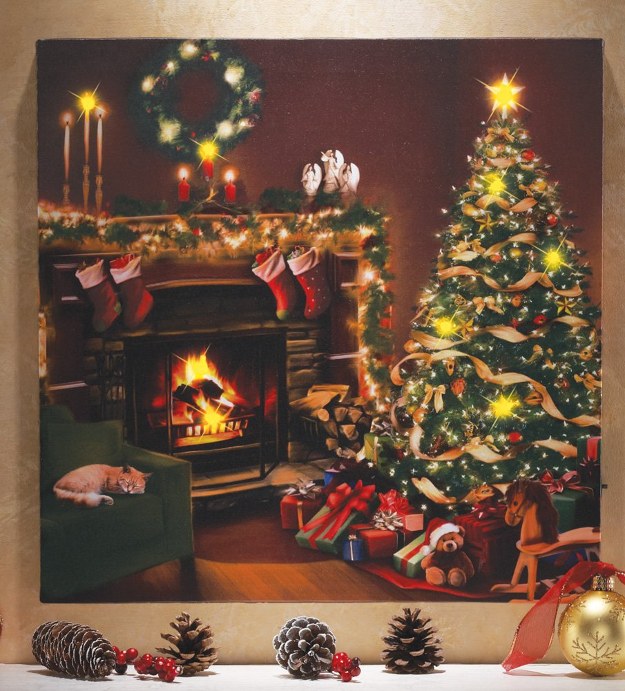 lighted christmas wall art amazoncom collections etc flickering led lighted christmas eve - Lighted Christmas Wall Decorations