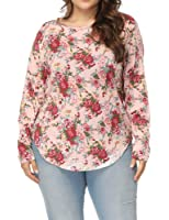Allegrace Women's Plus Size Printed Floral T Shirts Long Sleeve Casual Tee Tops