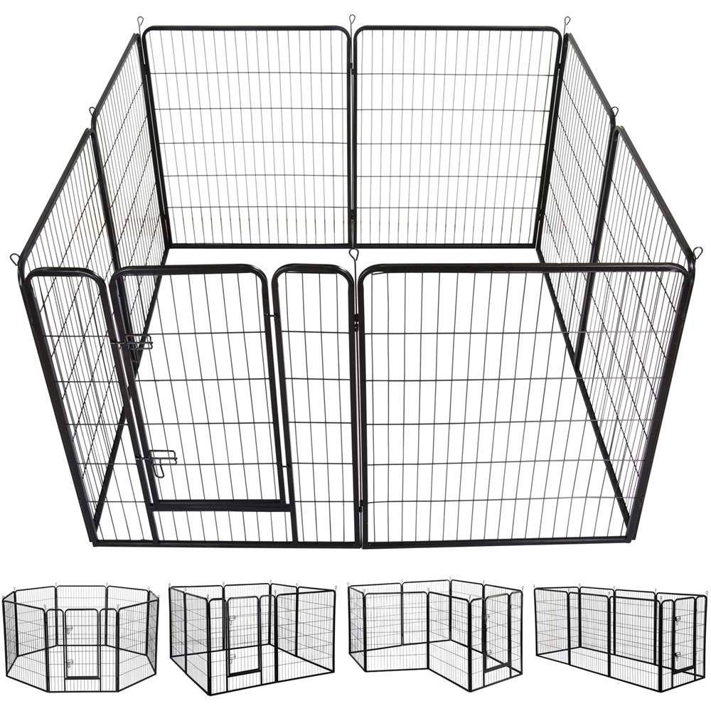 Yaheetech 40-Inch 8 Panel Heavy Duty Pets Playpen Dog Exercise Pen Cat Fence with Door Puppy Rabbits Portable Play Pen,Outdoor/Indoor,Black by Yaheetech