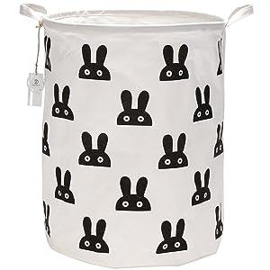 "Sea Team 19.7"" Large Sized Waterproof Coating Ramie Cotton Fabric Folding Laundry Hamper Bucket Cylindric Burlap Canvas Storage Basket with Cute Bunny Design (Black)"