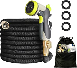 """HOMEERR 50ft Garden Hose Expandable Leak-Proof Water Hose with Double Latex Core, 3/4"""" Solid Brass Fittings, Extra Strength Fabric with Metal 8 Function Spray Nozzle for Garden Watering Car Washing"""