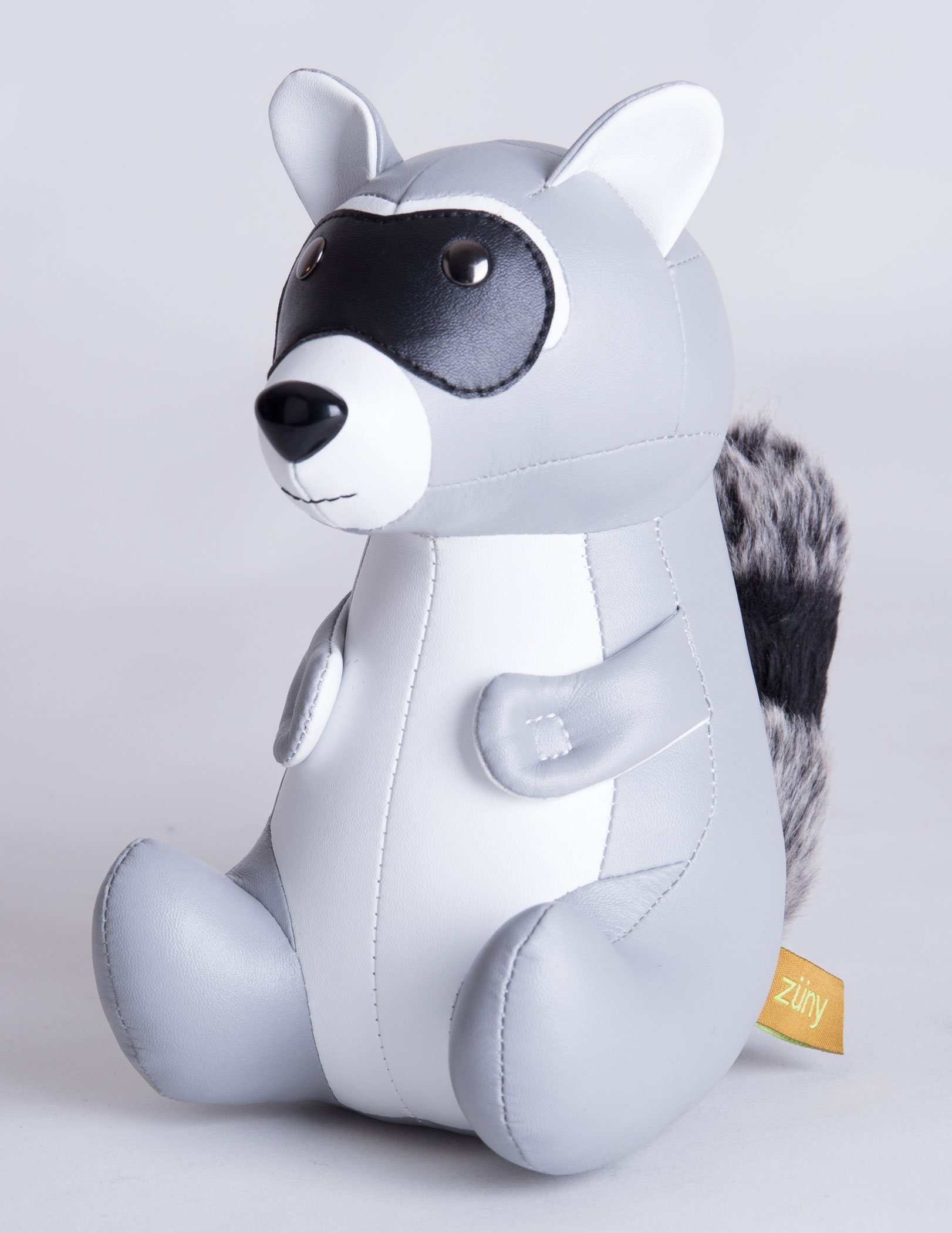 Zuny Raccoon Faux Leather Animal Bookend - Gray
