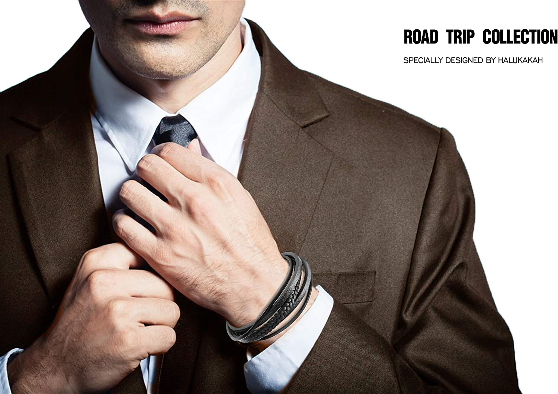 avec Le Bo/îte-Cadeau Gratuit 22-23cm Halukakah Plus ● Voyage en Route ● Homme Bracelet en Cuir V/éritable de Main Noir Multicouche Noir Fermoir Magn/étique en Titane Acier Taille Ajustable 8.5-9