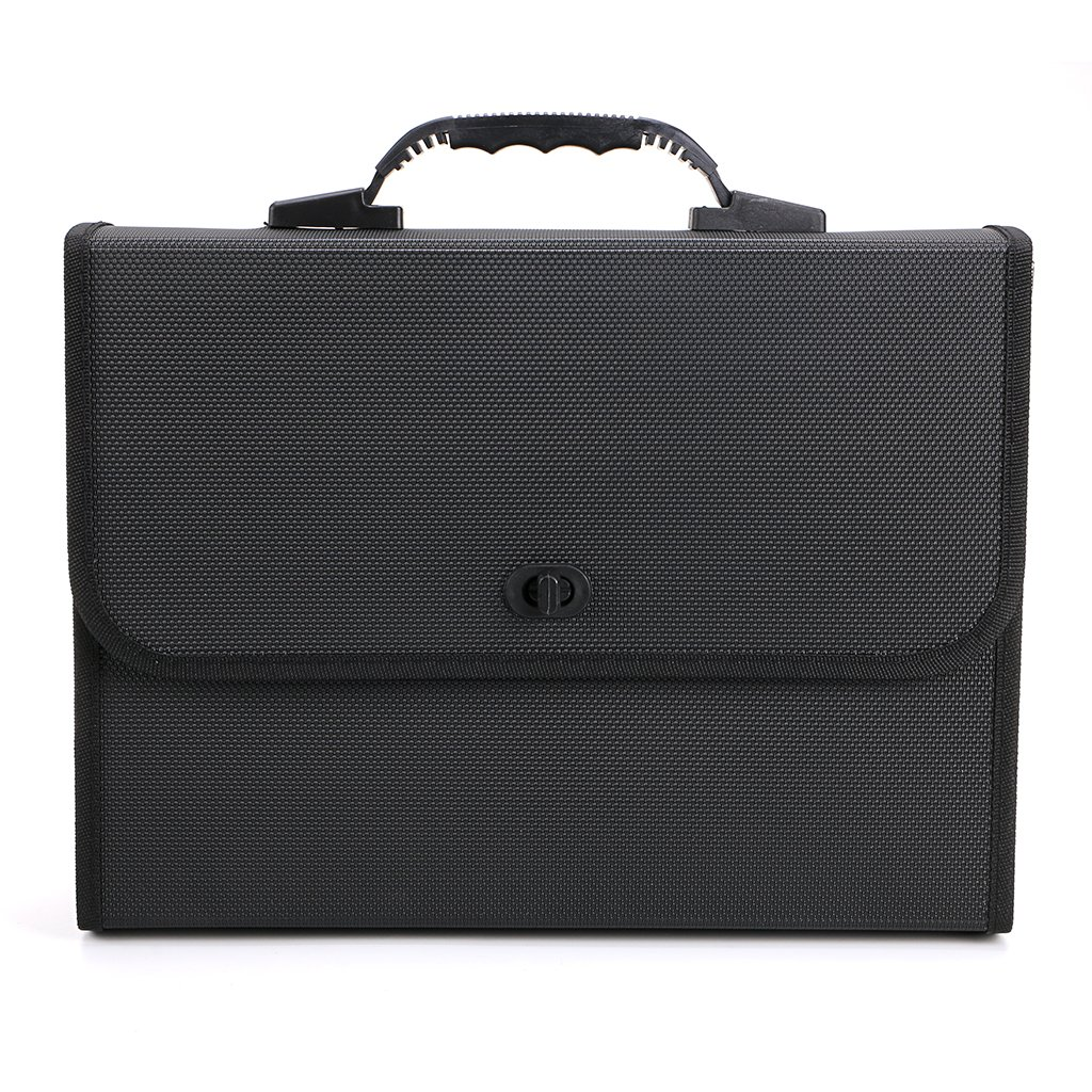 BTSKY26 Pockets Expanding File Folder with Handle-Poly Accordian File Organizer A4 US Letter Size Document Accordion File Folder Wallet Briefcase Style Business Portfolio Organizer (Black)