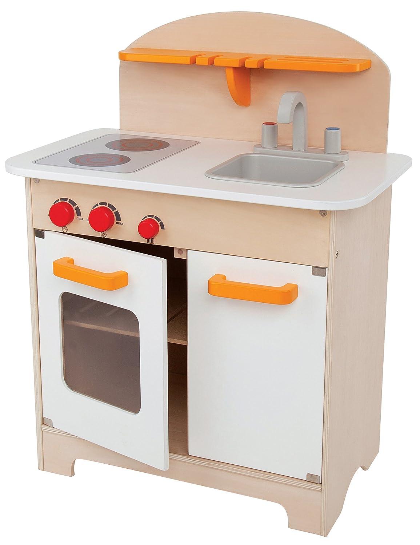 Amazon.com: Hape Gourmet Kitchen Kid\'s Wooden Play Kitchen in White ...