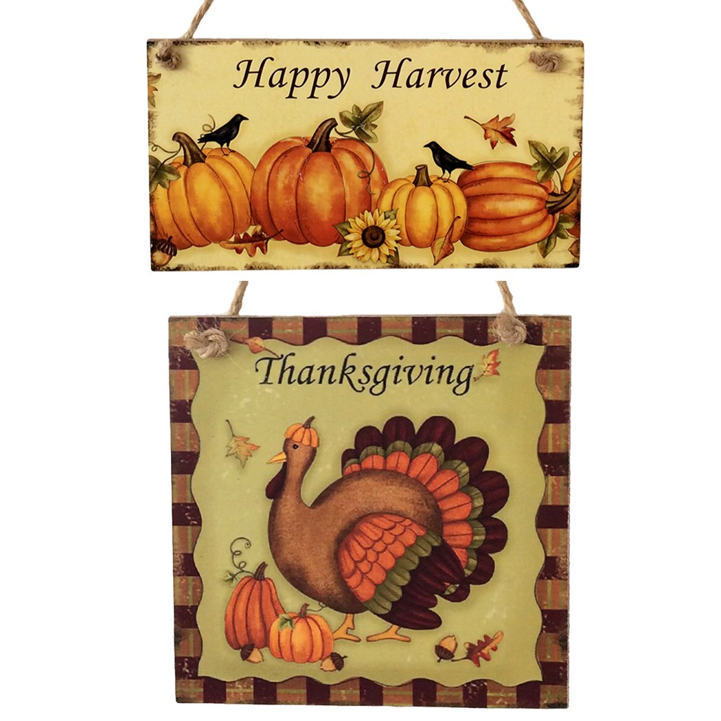 Coxeer Thanksgiving Plaque for Mothers Day Decorations 2Pcs Thanksgiving Hanging Plaque Decorative Wooden Turkey Wall Hangings Board Thanksgiving Door Bar School Shop Decor
