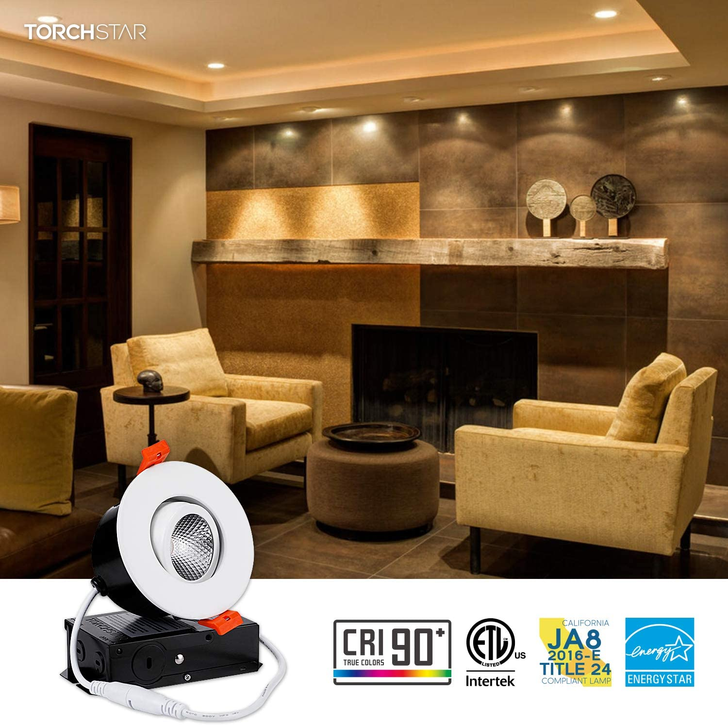 TORCHSTAR 3 Inch Gimbal LED Dimmable Recessed Light with J-Box 5 Years Warranty Airtight Oil Rubbed Bronze ETL//Energy Star//JA8//Title 24 7W CRI 90+ 500lm 50W Eqv. 2700K Soft White Pack of 6