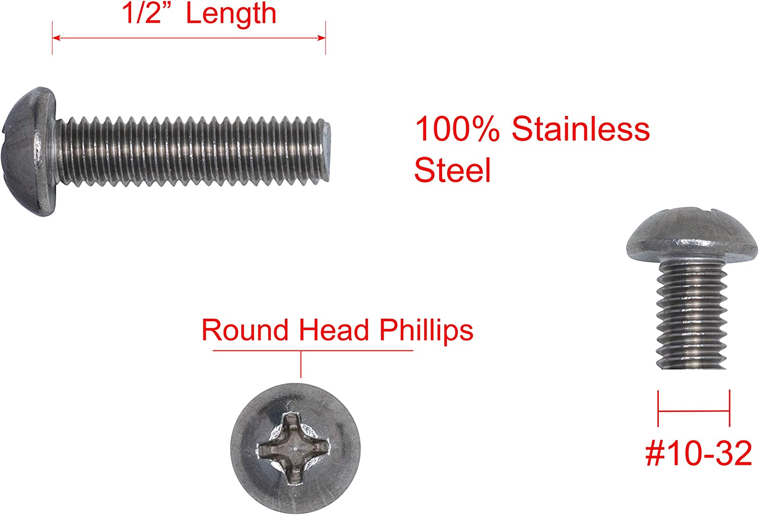 Fine Thread 100pc by Bolt Dropper 18-8 Stainless Steel #10-32 X 1//2 Stainless Phillips Round Head Machine Screw, 304