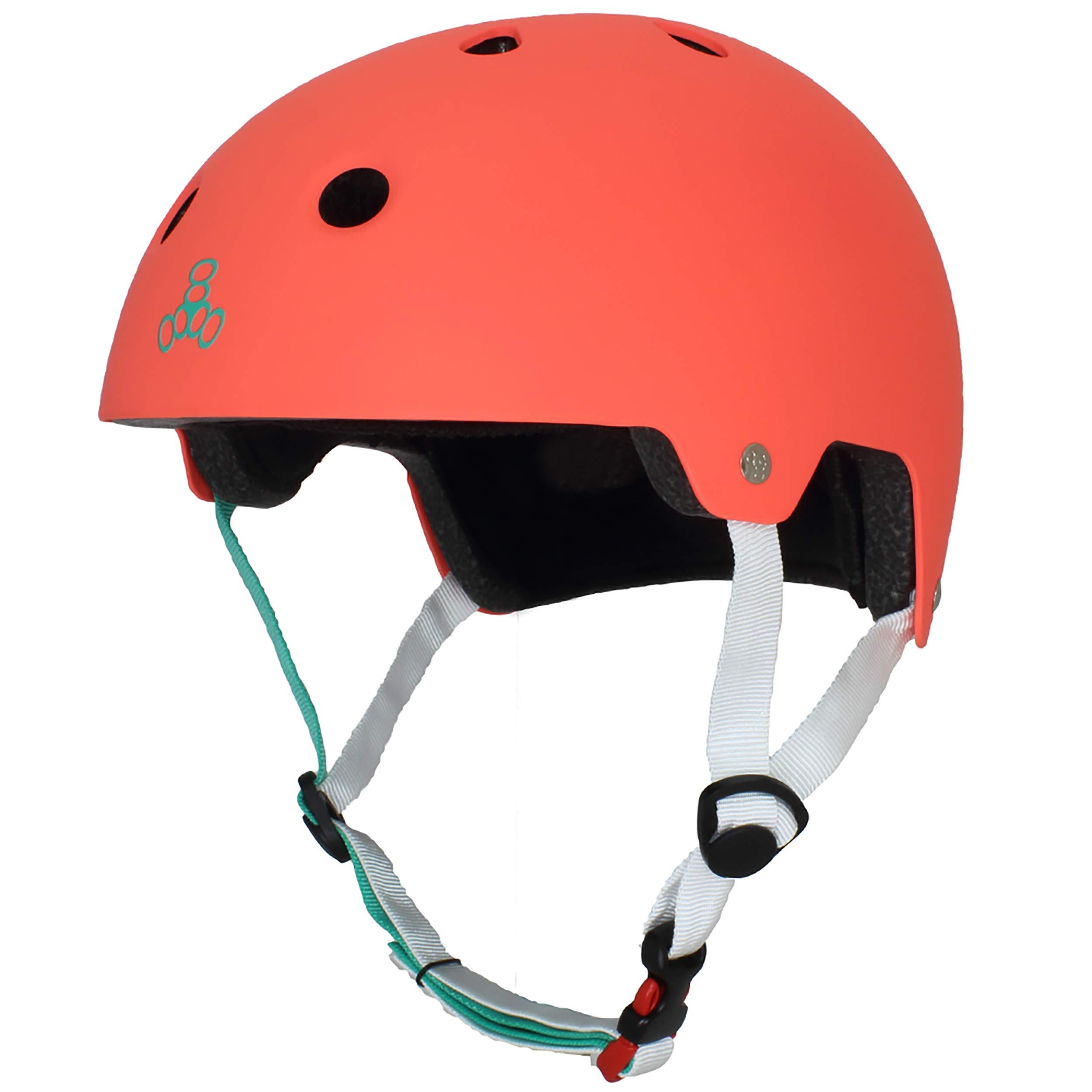 Triple Eight Dual Certified Bike and Skateboard Helmet, Neon Tangerine Matte, X-Small / Small