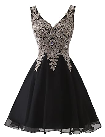 ad02e1f7dba Sarahbridal Juniors Short Chiffon Homecoming Dresses 2019 V-Neck Prom Party Gowns  Black US2
