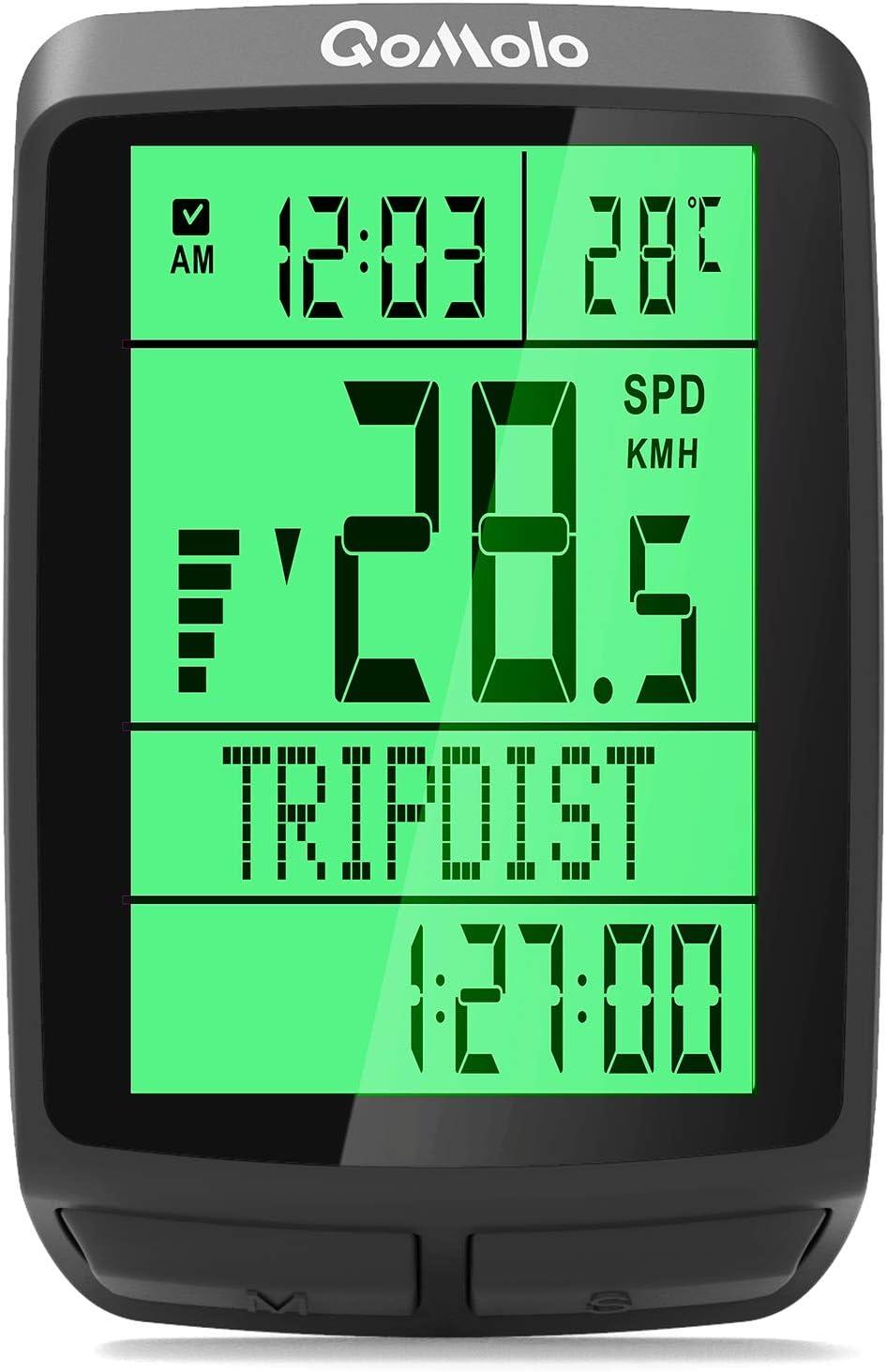 Qomolo Cuentakilómetros para Bicicleta, Impermeable Inalámbrico Velocímetro para Bicicleta, Muti-Funcion Ciclocomputador Ciclismo con Cronómetro, Temperatura,Hora,Ordenador Odómetro de Bicicleta