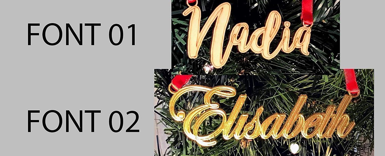 Personalized 3.9 x 2.5 Holiday Gift Christmas Hanging Ornament Monogram Name Square Frame Seasonal Home Christmas Tree Decor Cotton