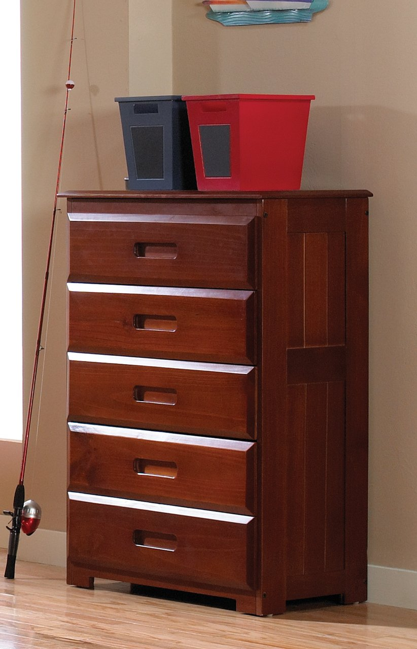 Twin Captains Bed Bookcase with 3 Drawer and Trundle, Desk, Hutch, Chair and 5 Drawer Chest in Merlot Finish by Discovery World Furniture (Image #4)