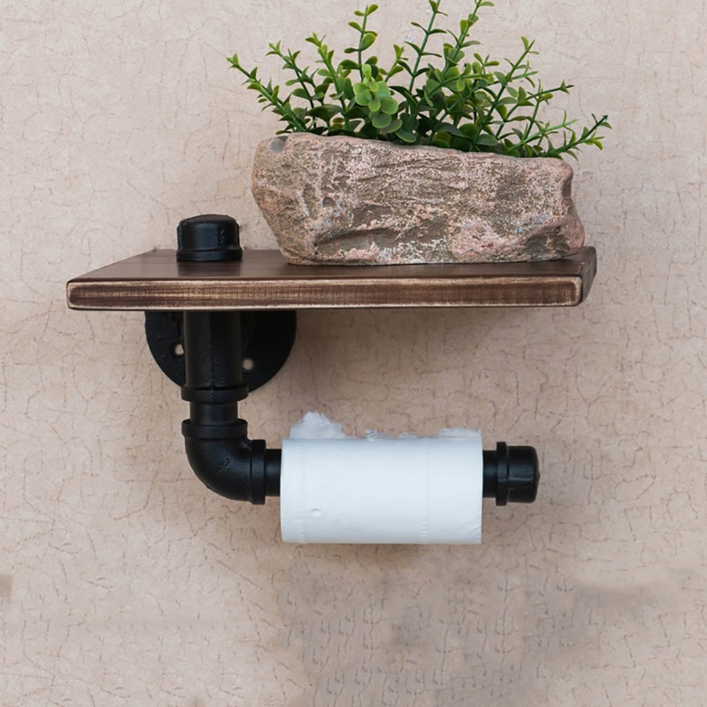 Yxsd Bathroom Solid Wood Creative Toilet Roll Paper Holder - 251318cm-2 Tier Retro Black Wrought Iron Industrial Water Pipe Rack