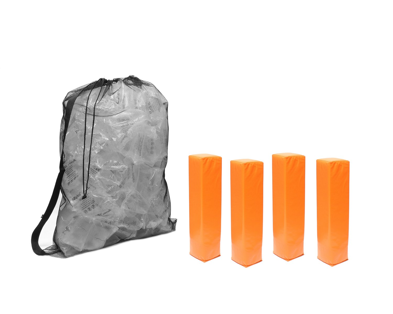 Get Out! Orange Weighted Foam Pylon Football/Soccer Endzone Field Marker Cone 4-Pack Plus Nylon Mesh Drawstring Bag