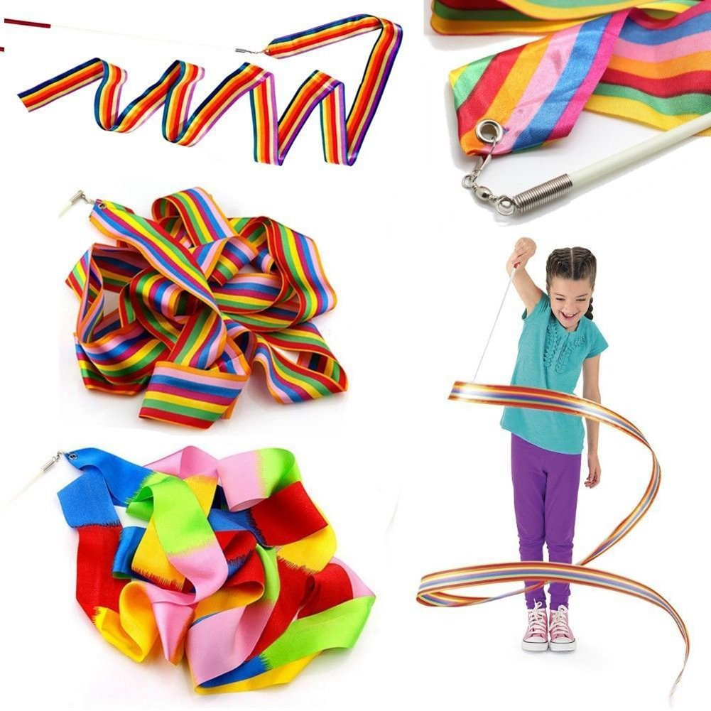 Brussels08 4M Colorful Dance Ribbon Gym Rhythmic Art Wide Ribbon Dance Wand Streamer Twirling Rod Stick Dancing Ribbon Kids Dancing Gymnastics Ribbon Wands