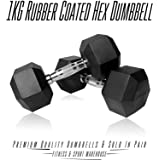 Pair of 1KG-10KG Rubber Coated Hex Dumbbell Gym Strength Training Equipment