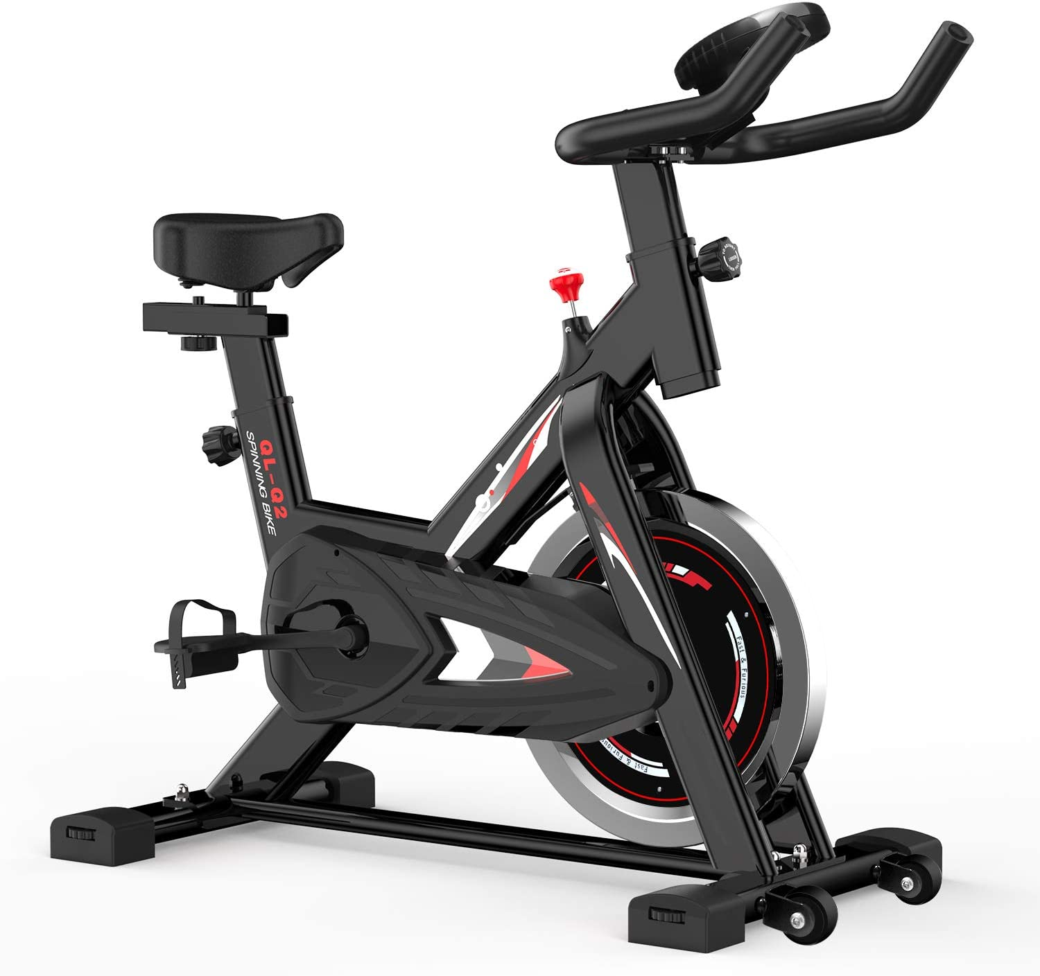 wellrun Indoor Spin Bike, Exercise Cycling Bike Stationary Bicycle Fitness Cycle Upright Excersize Bike for Home Gym Cardio Workout Machine with LCD Monitor & Tablet Holder