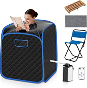 COSTWAY Portable Steam Sauna, 3L Foldable Sauna Spa with Remote Control, 9-Gear Temperature and Timer, Atomization Function, Personal Sauna Tent for Weight Loss, Detox Relaxation at Home (Black)