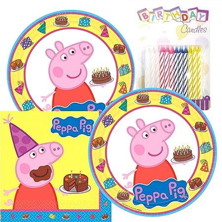 Peppa Pig Party platos y servilletas sirve 16 con velas de ...