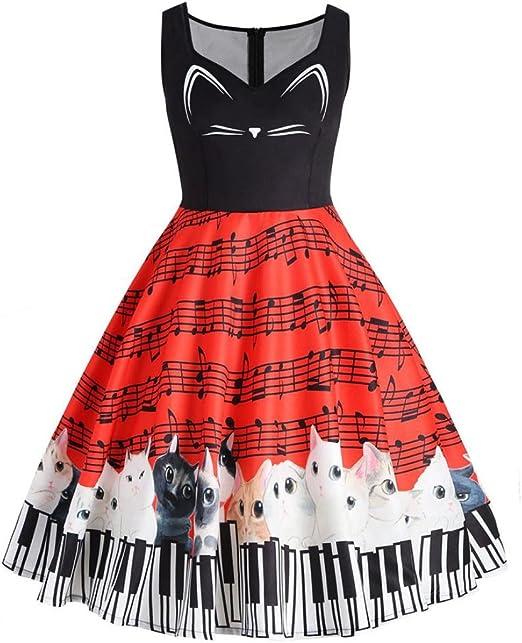 FeiXiang - Vestido de encaje vintage para mujer, diseño de gato ...