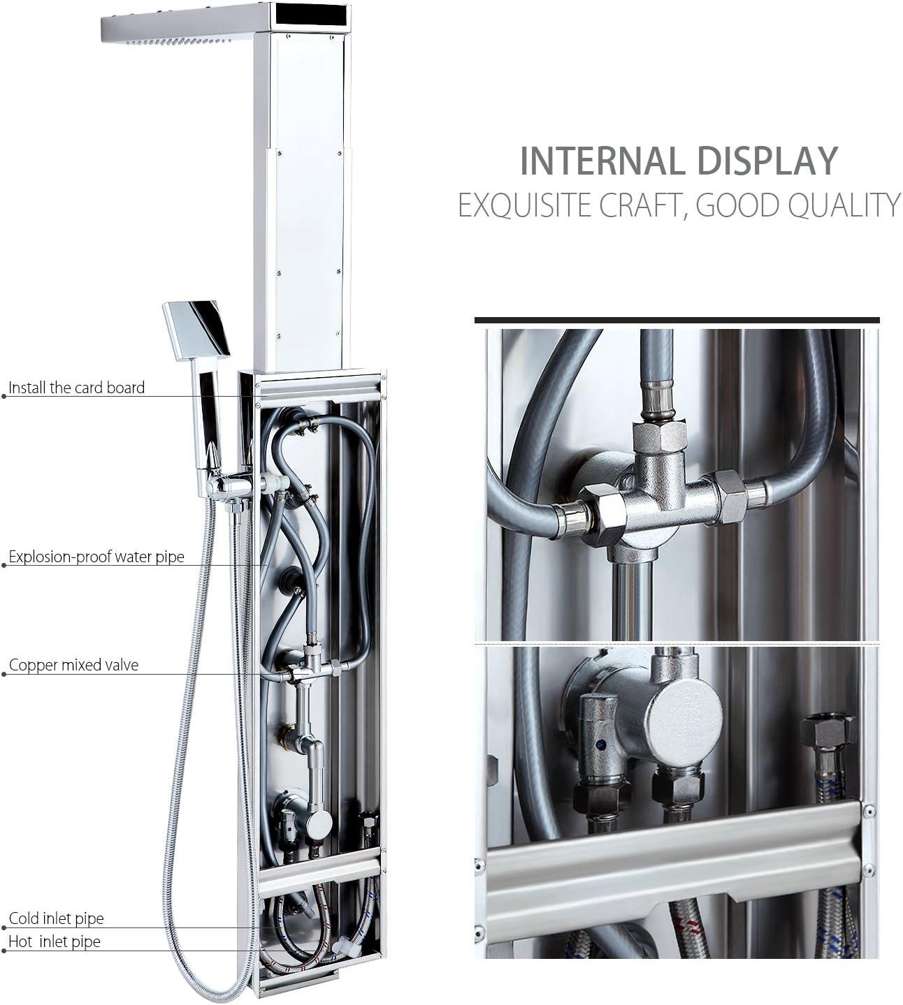 BONADE Columna de Ducha Termostático Panel Multifunción la ...