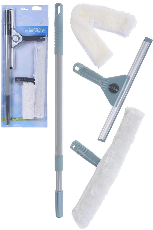Sistema de Limpieza de Ventanas 4pcs con Extensible 50-90 CM Limpiaparabrisas de Ventana Largo, escobilla de Goma: Amazon.es: Hogar