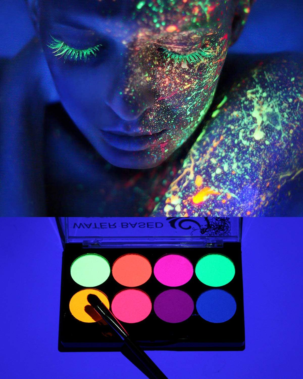 Amazon Com Uv Face Paint Kit Neon Fluorescent Body Painting 8 Bright Colors Water Based Black Light Make Up For Kids Adults Professional Halloween Projects Glow Parties Costumes Theater Special Festivals