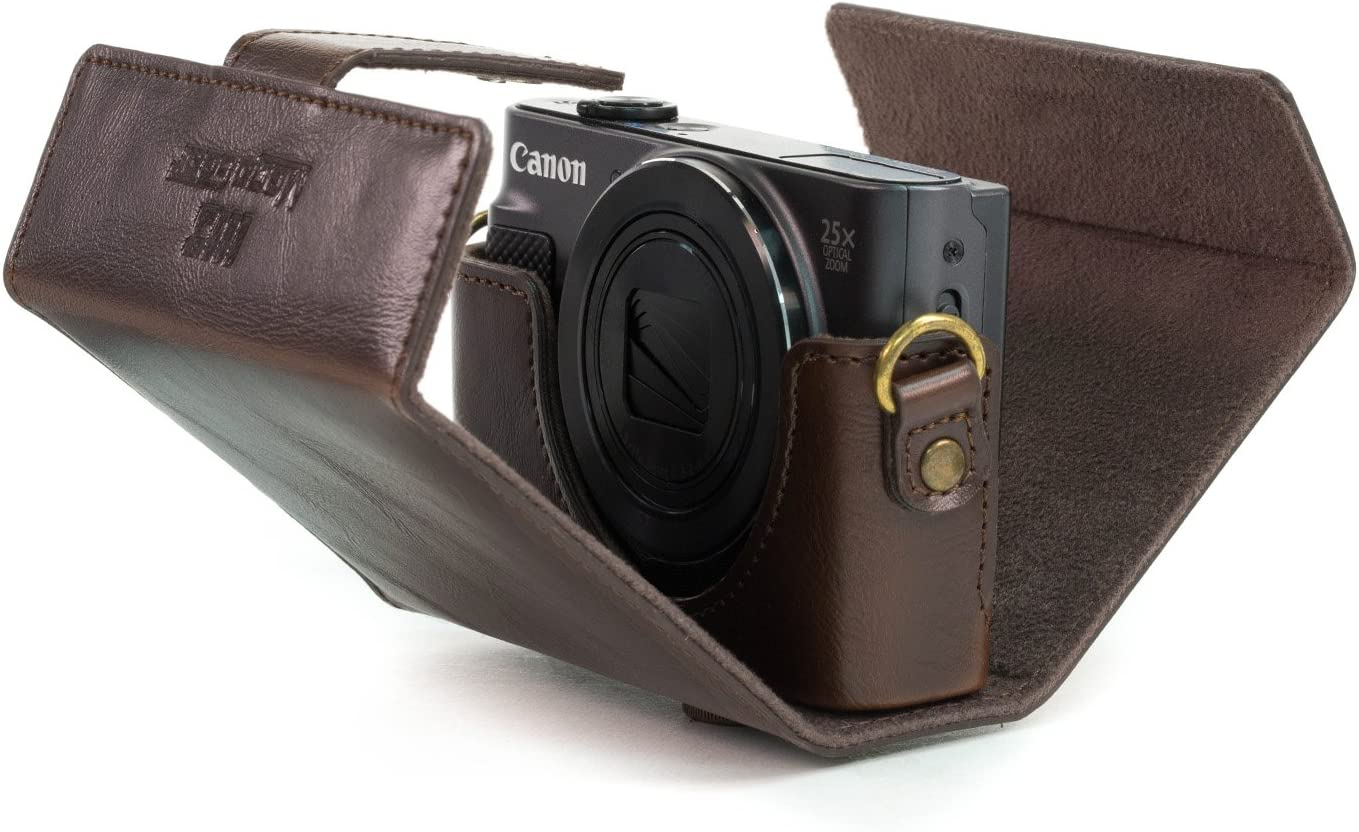 MegaGear Ever Ready Leather Camera Case compatible with Canon PowerShot SX620 HS
