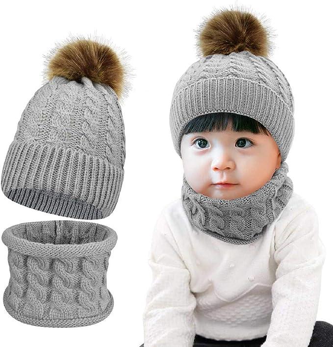 AHAHA Cappello Bambino Invernale con Pompon Set Cappello e Sciarpa per Bambini e Ragazzi