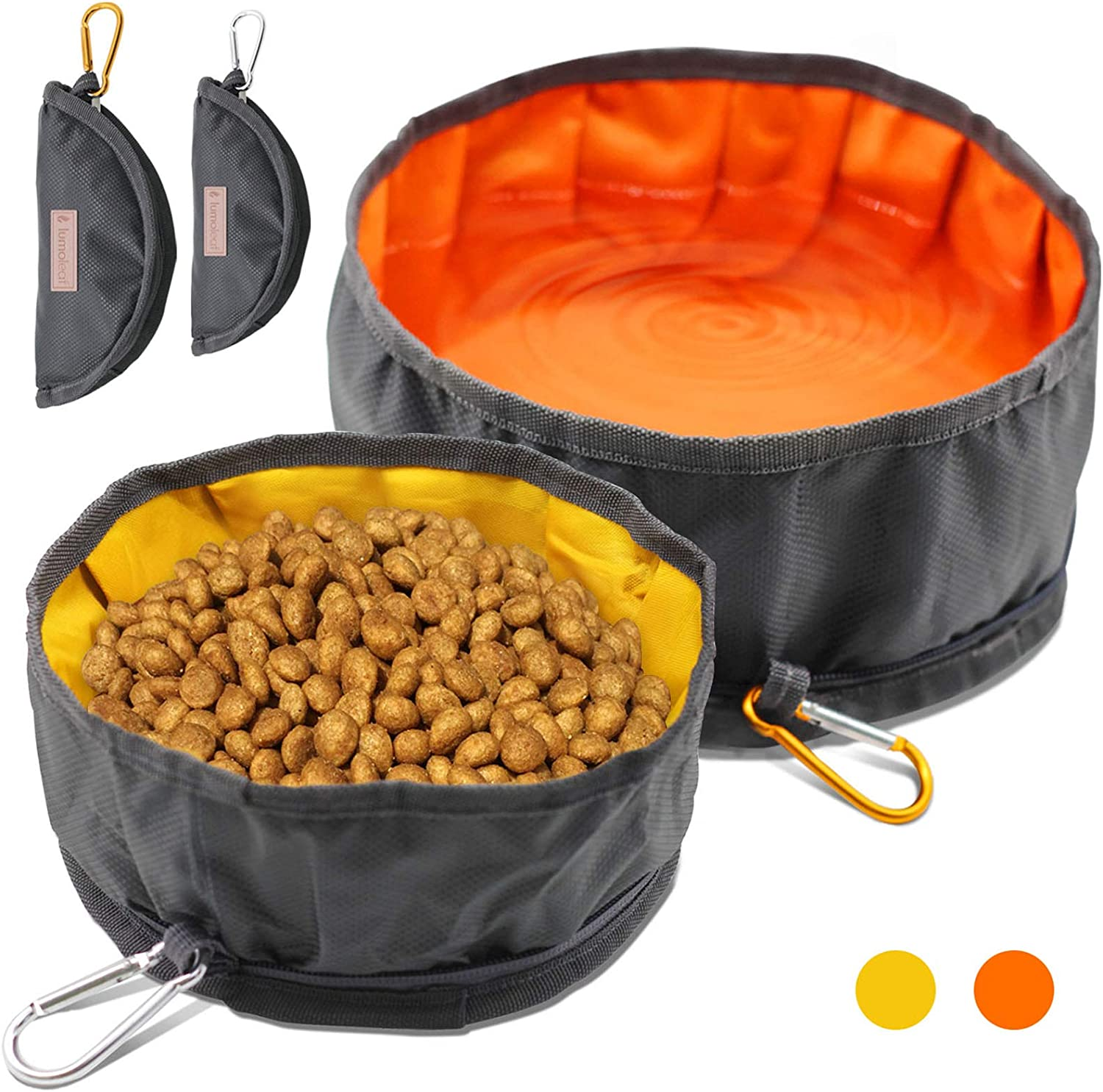 LumoLeaf Collapsible Dog Travel Bowls, Large Lightweight Foldable Bowl, Water and Food Bowls for Pets Dogs Cats with Zipper