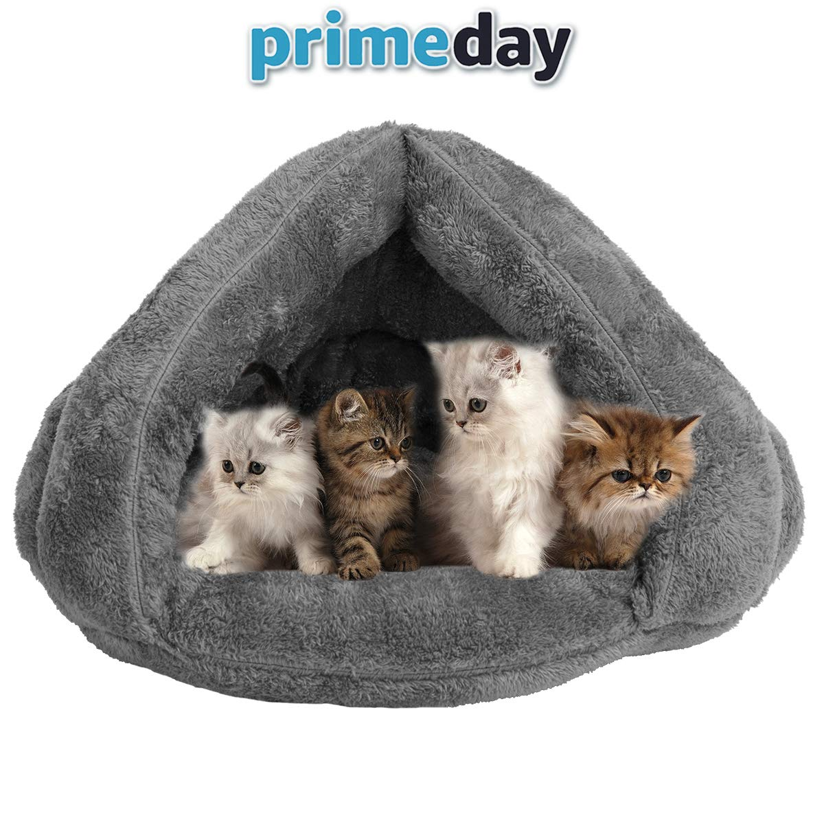 VeMee Plush Cat Sleep Bag Cozy Pet Cave Bed Covered Pet Beds Cave for Cat Small Dogs and Puppies Winter Pets Indoor Triangle Nest