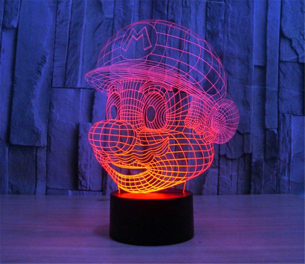 SmartEra® 3D optische T?uschung Super Mario Nacht USB Touch Taste LED Schreibtisch Tabellen Licht Lampe Tischleuchte