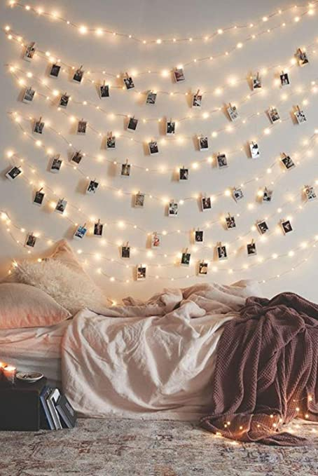 Photo Clip String Lights 17Ft , 50 LED Fairy String Lights with 50 Clear  Clips for Hanging Pictures, Photo String Lights with Clips , Perfect Dorm